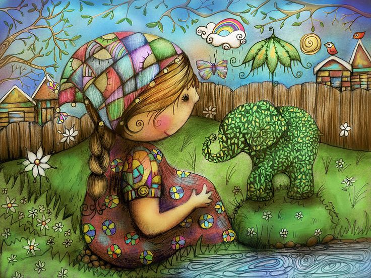 There's An Elephant In My Garden Painting by Karin Taylor - There's An Elephant In My Garden Fine Art Prints and Posters for Sale