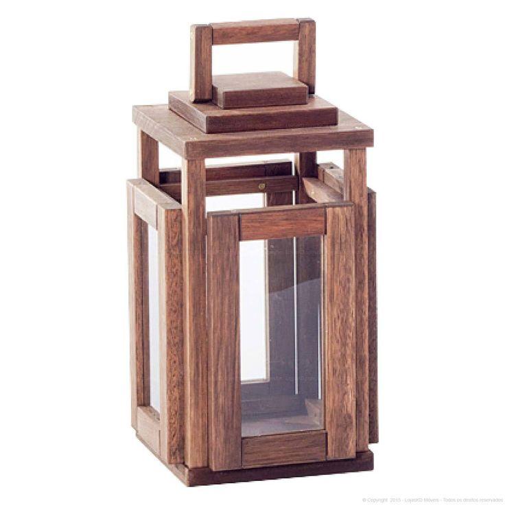 Lanterna Decorativa Pequena Lumen em Madeira Maciça 45,6 x 23 x 23 Nogueira - Urbe Móveis   Lojas KD