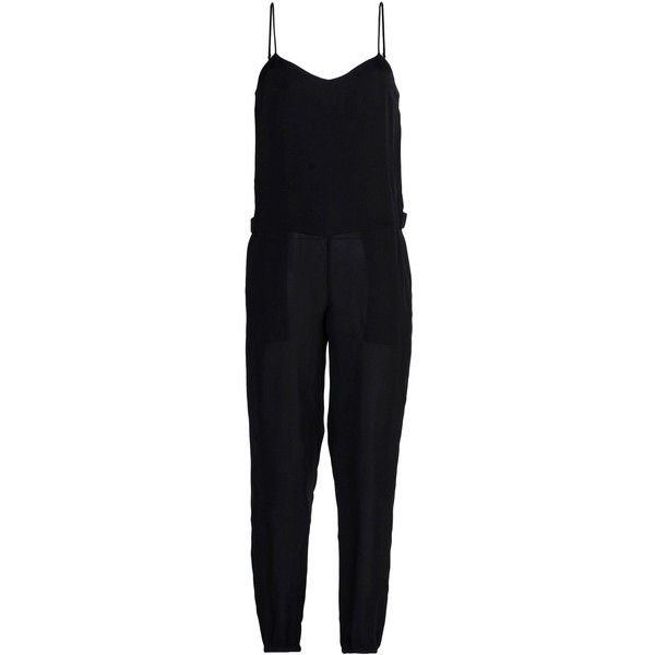 Theory Pant Overall ($178) ❤ liked on Polyvore featuring jumpsuits, jumpsuit, dresses, romper, black, black bib overalls, black sleeveless jumpsuit, jumpsuits & rompers, jump suit and overall jumpsuit