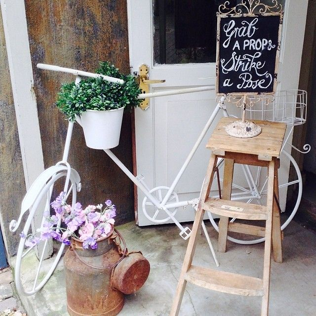 Some of our rental items - vintage metal bicycle, milk can, ladder and shabby chalkboard. See more of our items on our catalogue: http://www.moidecor.co.za/weddings_catalogue.htm
