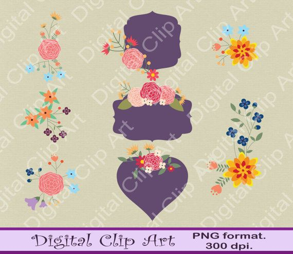 Digital Flower Clip art floral frame Vintage by digitalcliparts