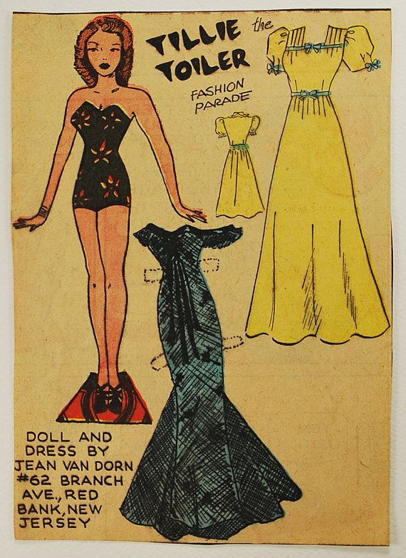 Vintage Newspaper Paper Doll, 1930-50