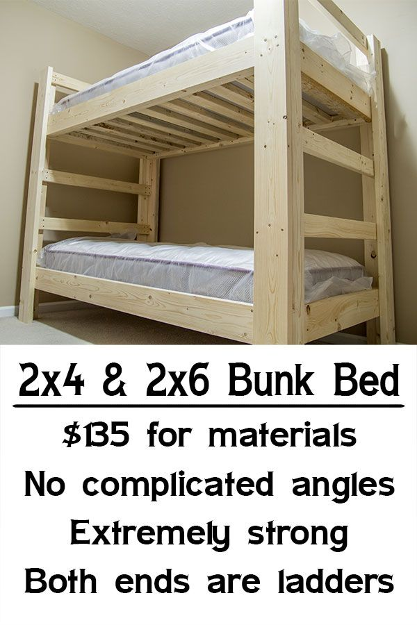 Easy Strong Cheap Bunk Bed Diy Wood Projects Pinterest Bunk