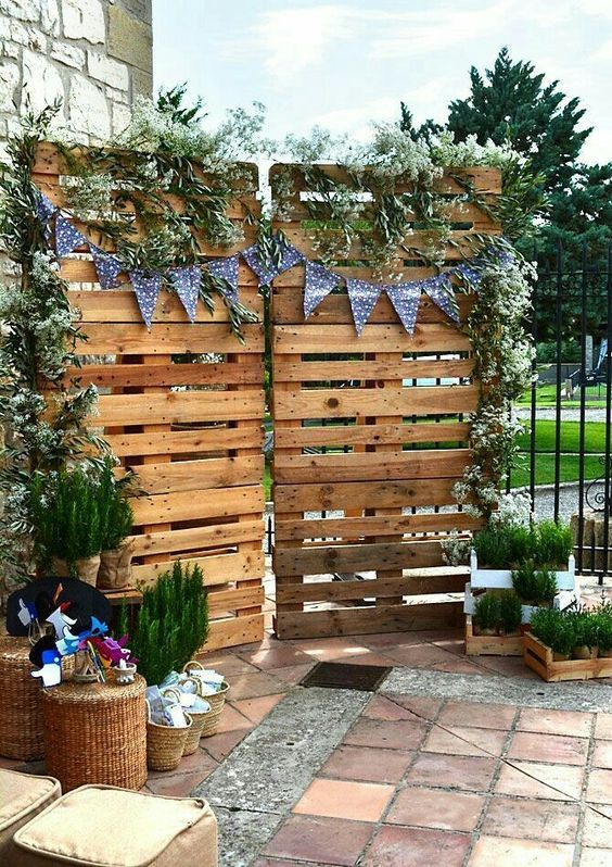 DIY ρουστίκ decor γάμου από παλέτες2