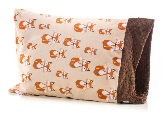 fox gender neutral pillowcase brown and orange toddler pillow twin bedding only