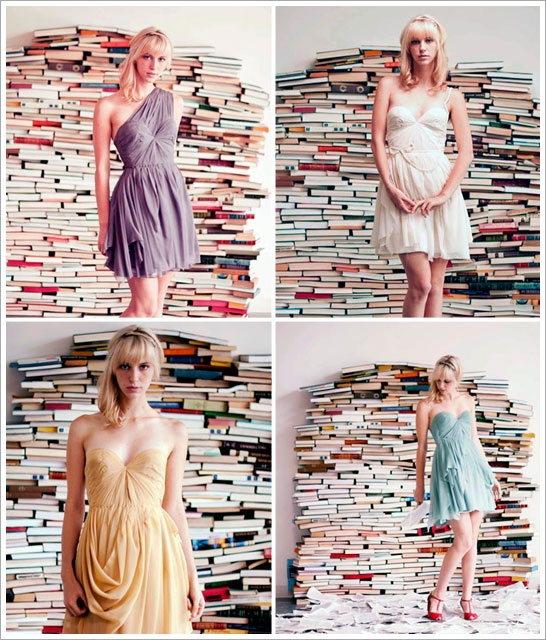Pretty shoot with a book background.