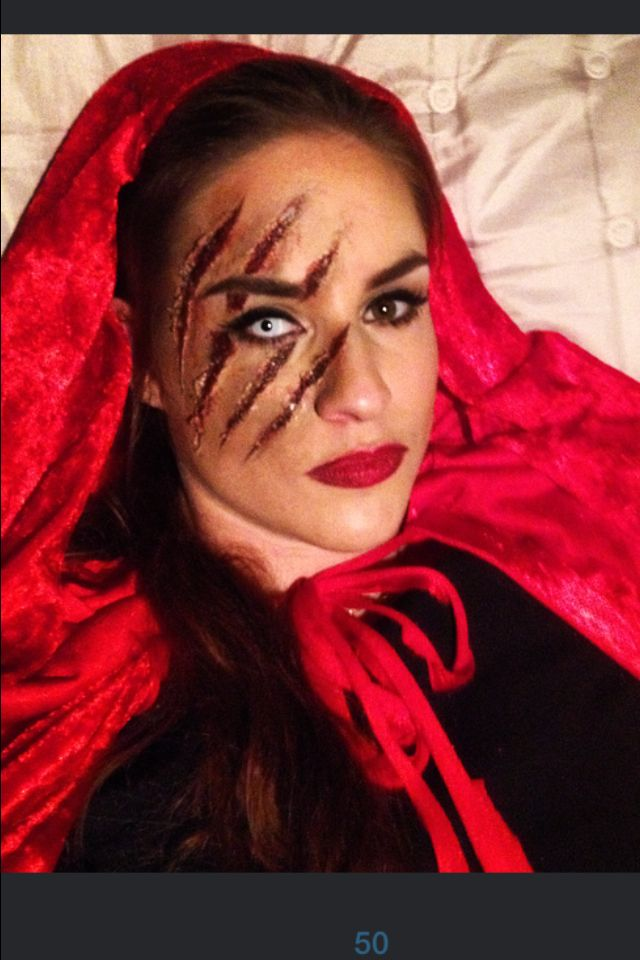Halloween - red riding hood had a run in with the big bad wolf.... Makeup                                                                                                                                                                                 More