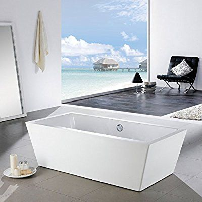 MAYKKE Alsen 59 Inches Modern Rectangle Acrylic Bathtub Freestanding White Tub in Bathroom, 13-3/8 Inches Water Depth, 44 Gallons Water Capacity, XDA1437001