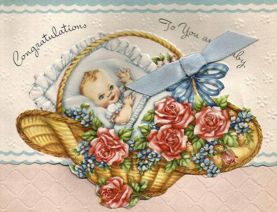 Felicidades bebé Vintage tarjeta cesta de flores florales rosa descarga digital…