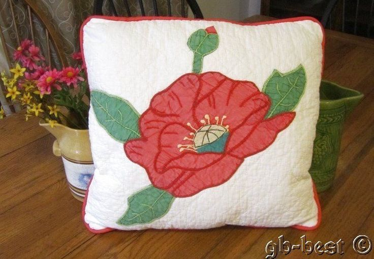 Romantic 30s Applique Pink Poppy Vintage Quilt Pillow Wrapped in Bows 1 | eBay