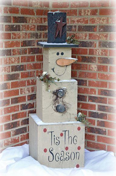 ~ Tiered Wooden Block Snowman ~ Cute!
