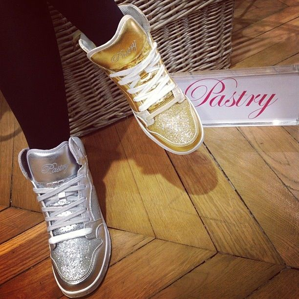 Glam Pie Glitter Sneakers in silver & gold.   Shop them here http://www.lovepastry.com/shoes/glam-pie-glitter