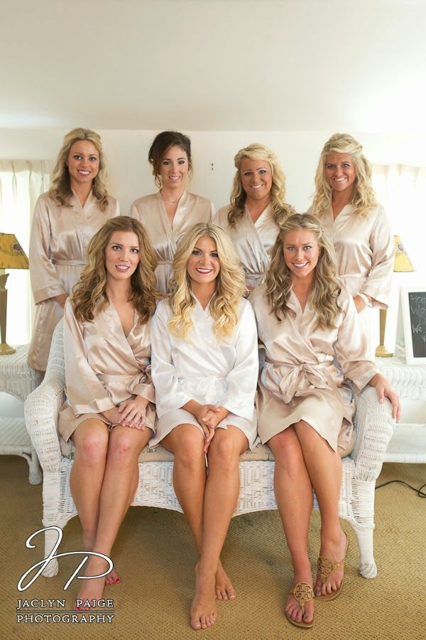 Idea For Bridesmaids Getting Ready In Silk Robes Champagne And White Wedding Jaclyn Paige Photography The Day