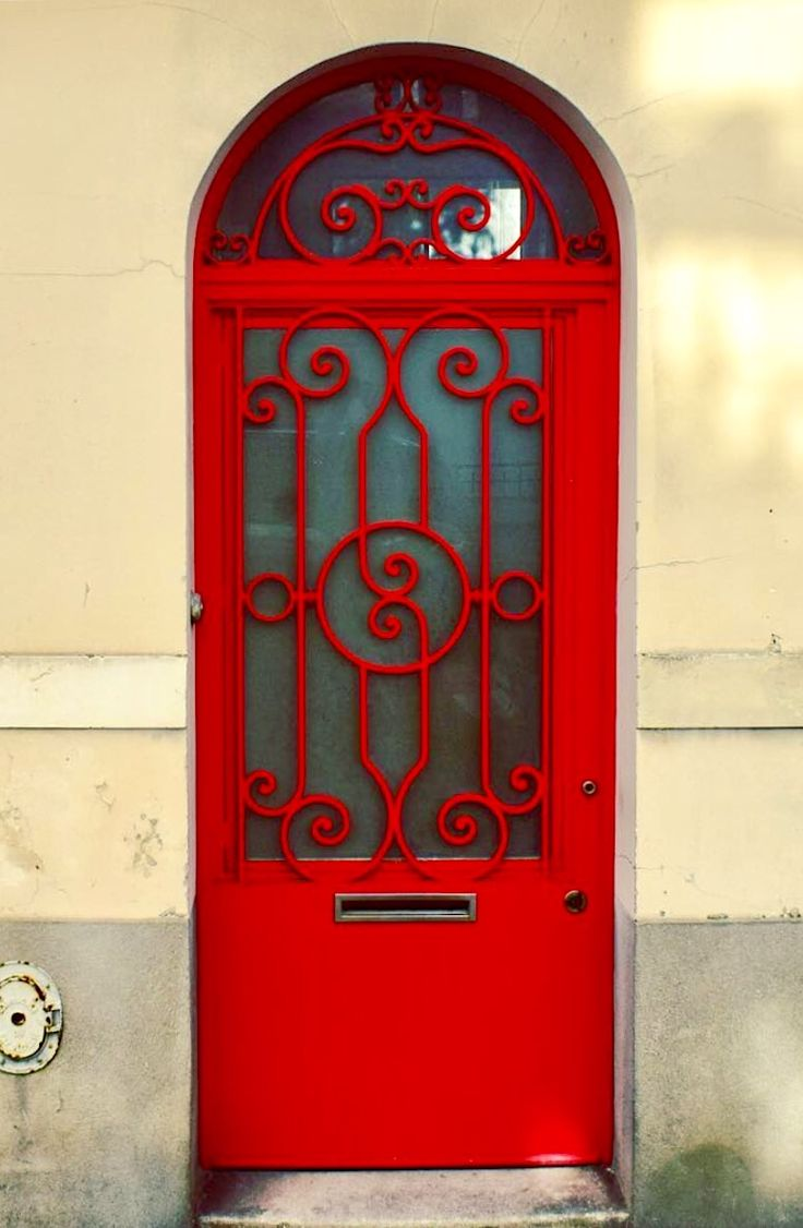 Paris, France bright red door