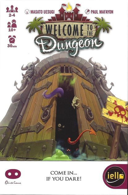 Welcome to the Dungeon — first released as Dungeon of Mandom — is a push-your-luck dungeon delve in which 2-4 players take turns essentially daring each other to go into a dungeon with less equipment than they start off with while filling the dungeon with monsters. Players can win the game by winning 2 rounds or get eliminated from the game by losing 2 rounds. Each player has a 2-sided players card that has a white side and a red side. The first win taps the player card an...