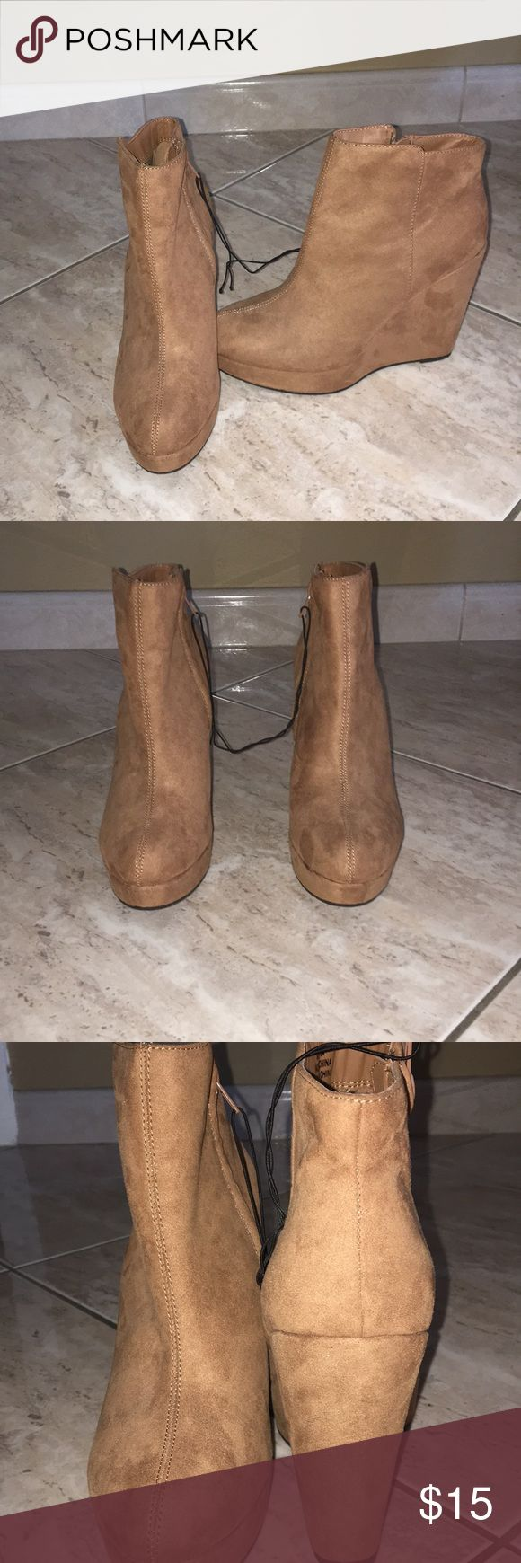 Brown wedge booties Sz. 8 New w/o tag brown wedge forever 21 booties Got them as a Christmas gift but they are too small on me  Size 8/38 EU Forever 21 Shoes Ankle Boots & Booties