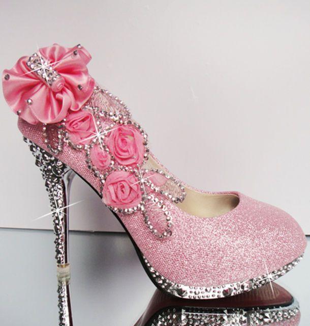 Pinks Shoe Glitter Diamante Pump  high heel Wedding shoe