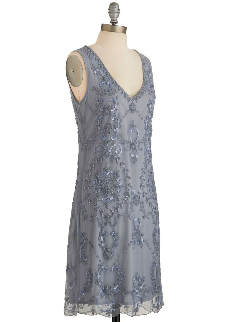 Bead It Dress in Grey. Theres no going wrong in this beautiful beaded dress! #grey #modcloth