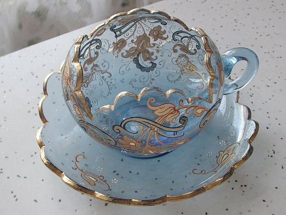 Circa 1920s Antique Moser glass tea cup and saucer, vintage blue crystal tea set, blue and gold tea cup and saucer $145.00
