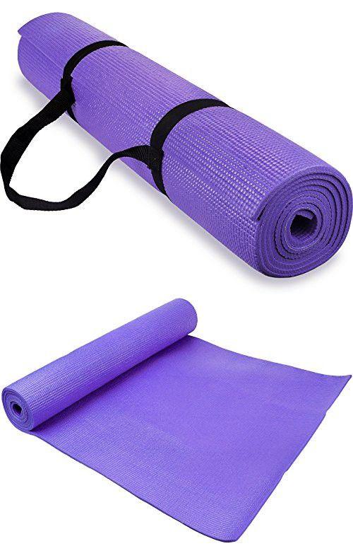 Spoga 1/4-Inch Anti-Slip Exercise Yoga Mat with Carrying Strap, Dark Purple