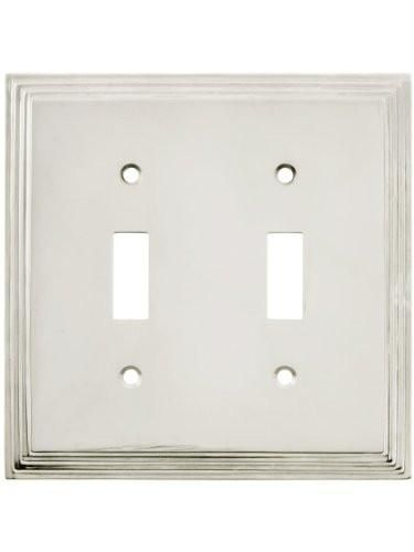 Mid-Century Toggle Switch Plate - Double Gang In Polished Nickel. Electrical Switch Plate Covers.