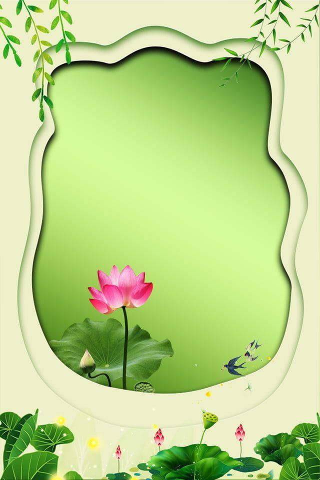 Bingkai Spring Teratai Kecerunan Flowery Wallpaper Lotus Art Painted Floral Wreath