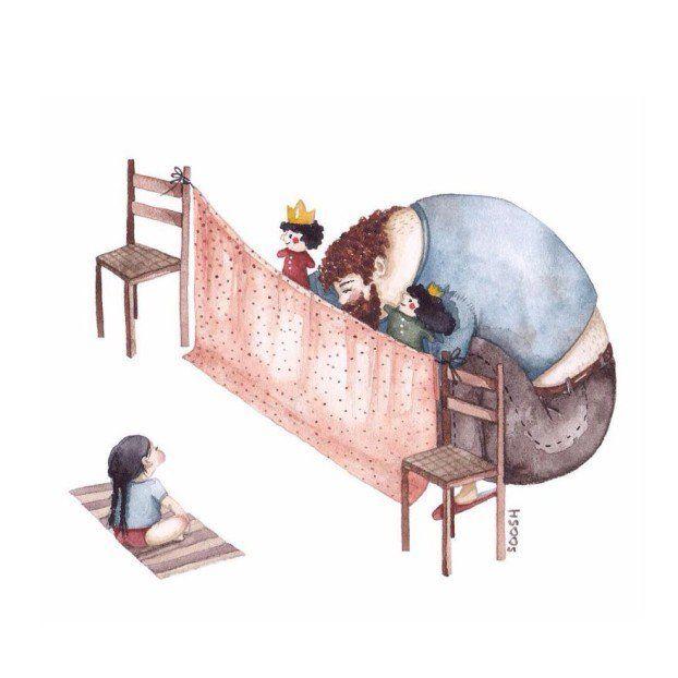 14 Bonitas ilustraciones que reflejan el amor entre un padre y su hija. | LikeMag | We like to entertain you