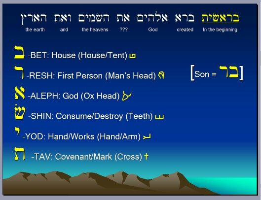 """"""" In the beginning """"  First words in Genesis in the Bible ,  God tells us,  of the crucifixion  of his son Jesus  ,  through the Hebrew letters , pictographs !   In the beginning,""""by looking at the pictographs that make up the Hebrew word""""Barasheet,""""most frequently translated,""""In the beginning."""" In the original Hebrew alphabet, each pictograph represented a letter of the alphabet, a number, and had a symbolic meaning. By looking at those pictographs, a richer, deeper understanding of…"""
