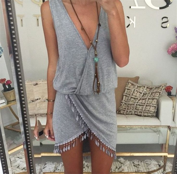 2016 Summer Style Women Tassel Dress Fashion Deep V-neck Sexy Beach Dresses Solid Smock Waist Front Wrap Boho Dress vestido