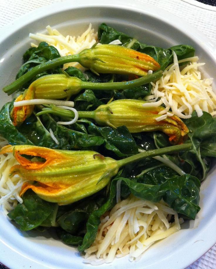 Baked Basmati Rice, Swiss Chard and Zucchini Flowers
