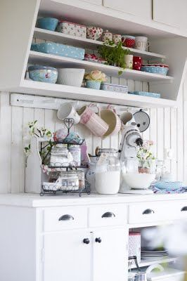 """Love this """"baking station"""" and shelving above! So cute"""