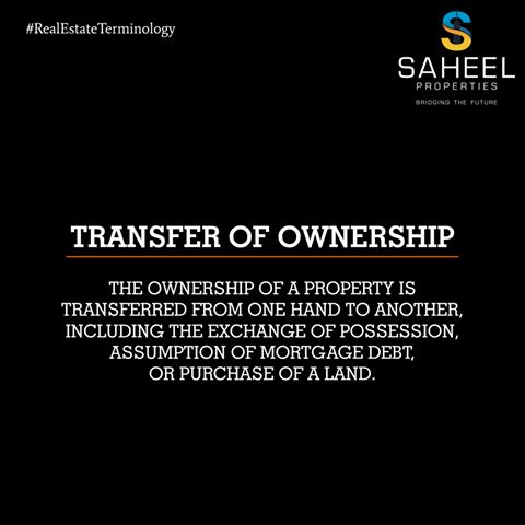 """Understanding Real Estate!! Transfer of Ownership is the purchase of a property """"subject to"""" the mortgage, the assumption of the mortgage debt, and any exchange of possession of the property under a property sales contract or any other land trust device."""