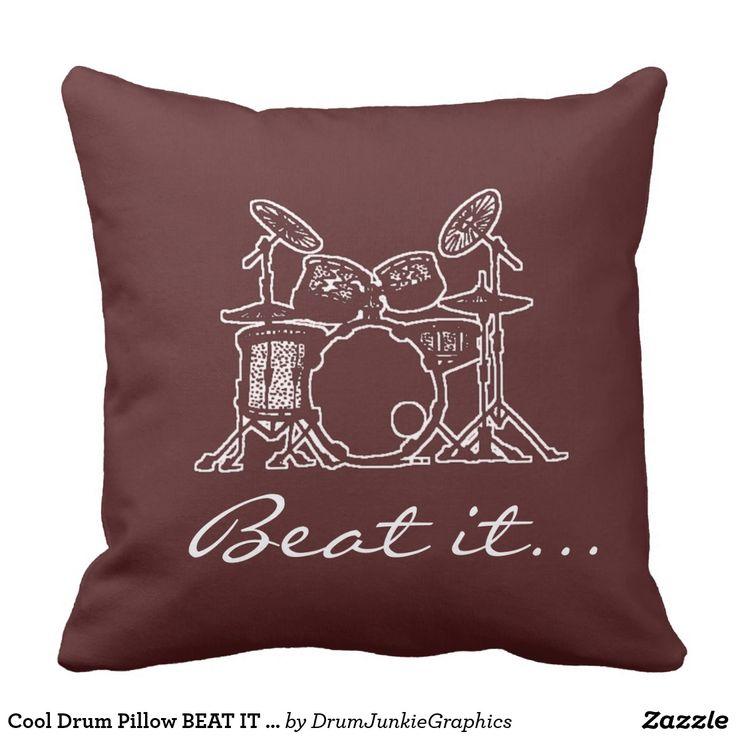 Cool Drum Pillow BEAT IT  Drummer Cushion Musician