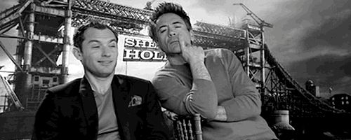 "Jude Law and Robert Downey Jr || Sherlock Holmes "" A game of shadows"" - ""gioco di ombre""  gif  #RDJ #movies #gifs"