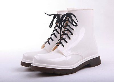 New womens rain boots Fashion Ankle boots Lace-Up Rubber rainboots size 35-41