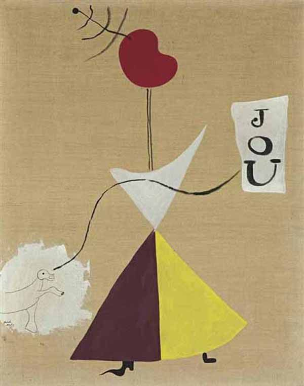 Peinture (Femme, Journal, Chien), Painting (Woman, Newspaper, Dog) by Joan Miró, 1925. Sold at Christie's for 13.7 million dollars in November, 2012.