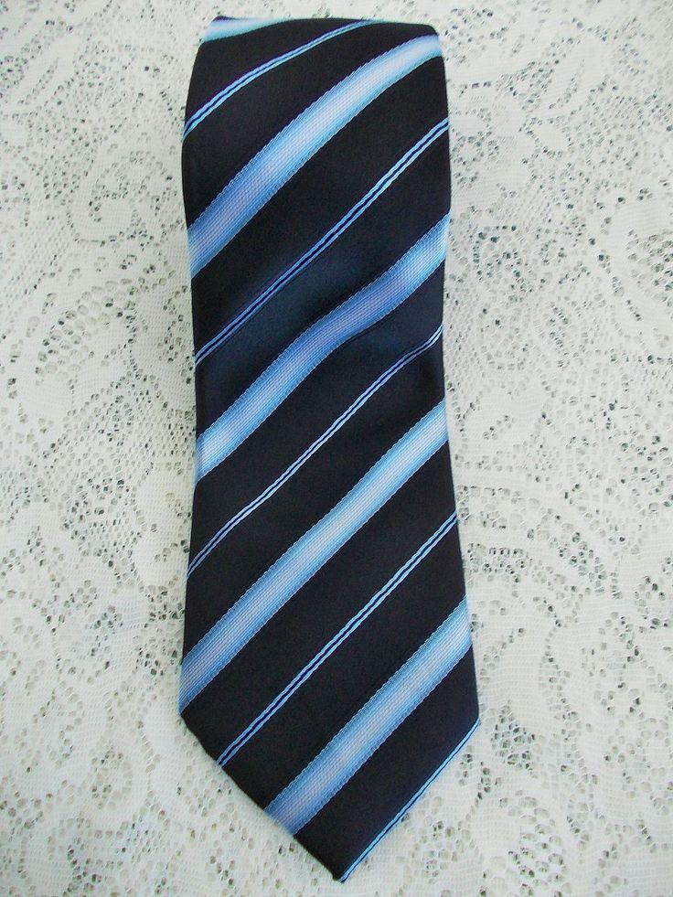 Vintage Silk Tie, Navy & Light Blue Diagonal Stripes, Giorgio Armani, Made in Italy