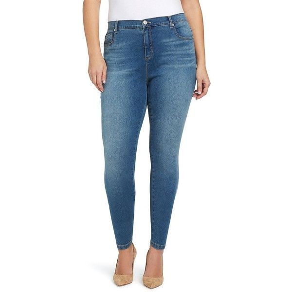 Plus Size Gloria Vanderbilt Amanda High-Rise Skinny Jeans ($37) ❤ liked on Polyvore featuring jeans, dark blue, plus size, high-waisted jeans, blue jeans, blue high waisted jeans, women's plus size jeans and plus size tall jeans