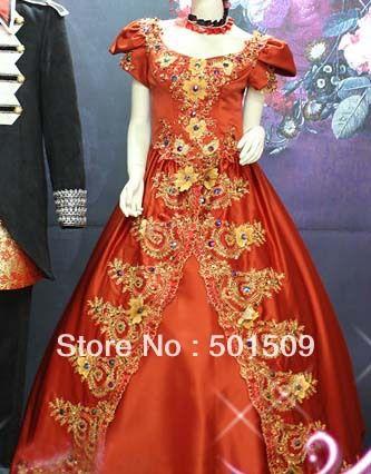 Средневековый ренессанс платье сисси платье принцессы красный горный хрусталь украшения викторианской готики / мария-антуанетта / колониальный красавица бальное