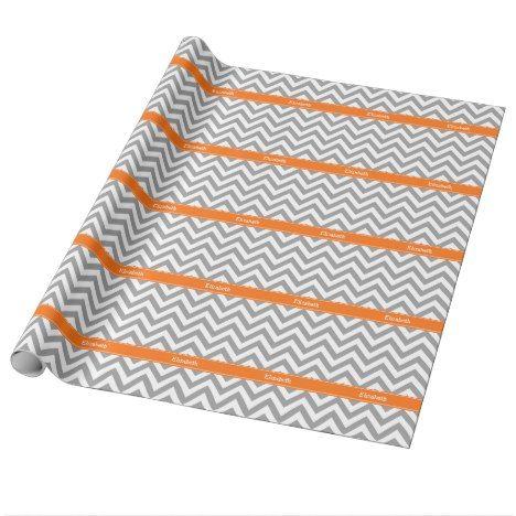 Dark Gray White LG Chevron Pumpkin Name Monogram Wrapping Paper #chevron #craft #supplies