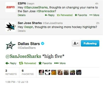 The Sharks just won Twitter, and the Stars got 2nd. ESPN got... oh, I dunno... somewhere close to the bottom. Yes, below all of the annoying hashtag-loving girls.