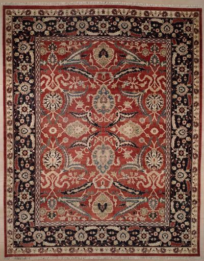 Handmade and Knotted Rectangular Sultanabad Area #rug with Red Accents (11x15)