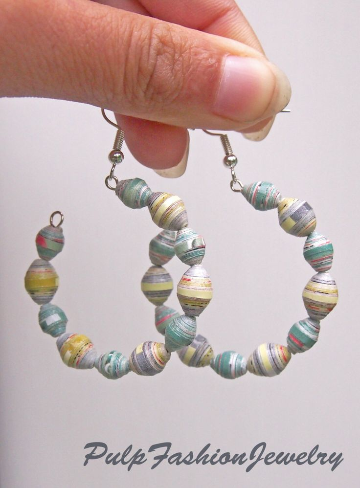 Sea Green Paper Bead Earrings with Memory Wire by PulpFashionJewelry on Etsy https://www.etsy.com/listing/203680091/sea-green-paper-bead-earrings-with