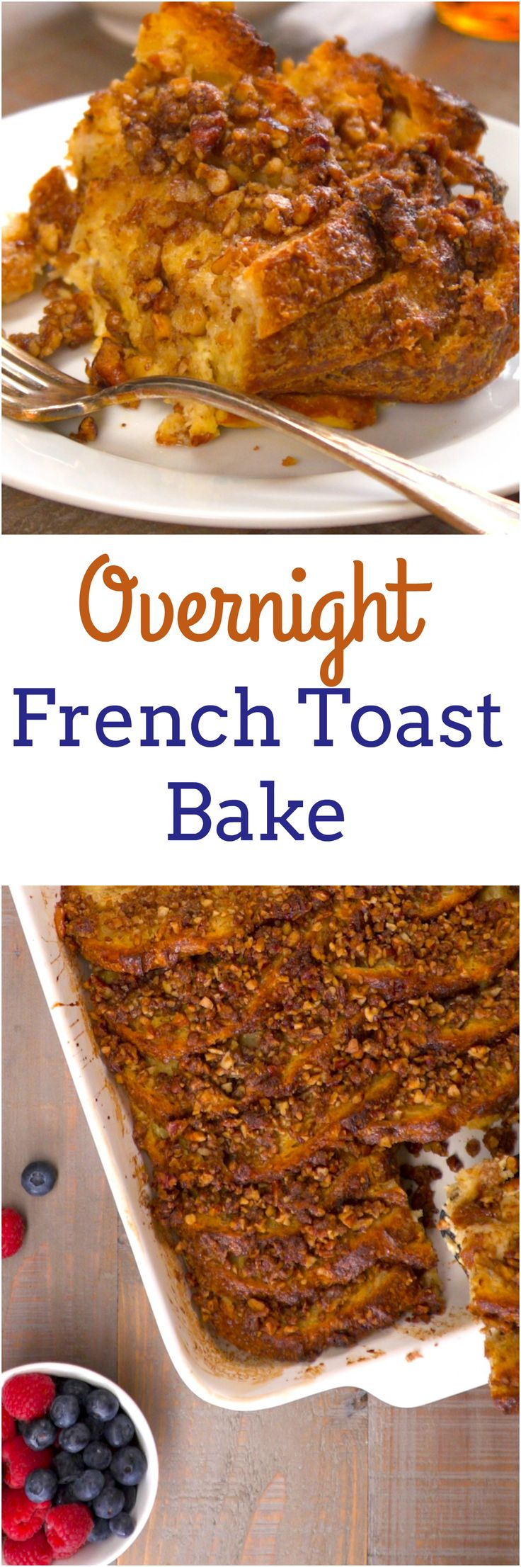 French toast is one of our favorites for Sunday brunch, but it's not the best when you need to feed a crowd. Our French toast bake solves that problem deliciously: it's basically a big batch of cinnamony French toast baked in the oven, with a crazy good pecan streusel topping. Even better, you make it the night before so you can have both a lazy morning and a fancy brunch.