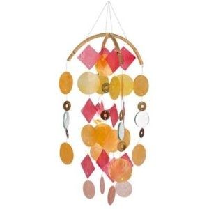 Asli Arts Collection Yellow, Gold, Red Capiz Chime