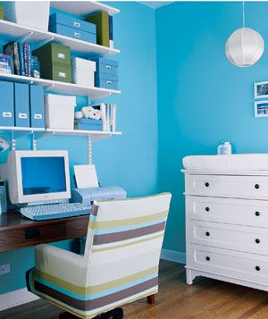 Office: Blue Home Offices, Work Area, Idea, Offices Spaces, Blue Wall, Desks, The Offices, Colors Schemes, Offices Colors