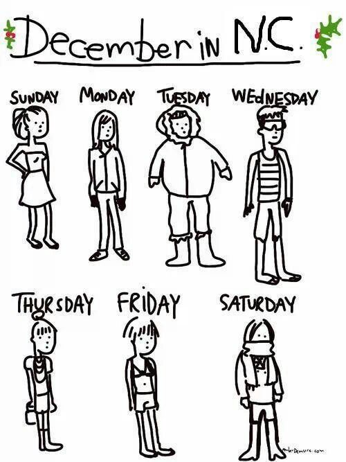 December weather in North Carolina This is so true!! But the sooner I move there the happier I'll be. Beach all day, downtown at night. Being where my kids are, life is good