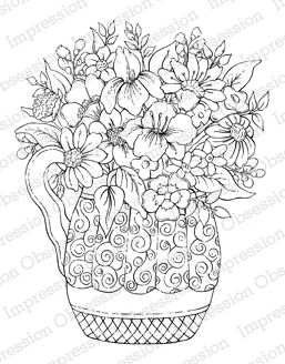 "Swirl Vase - $13.19  	 Gorgeous Swirl Vase filled with beautiful mixed bouquet! Cling Stamp. Approximately 3.25"" x 4.25"""
