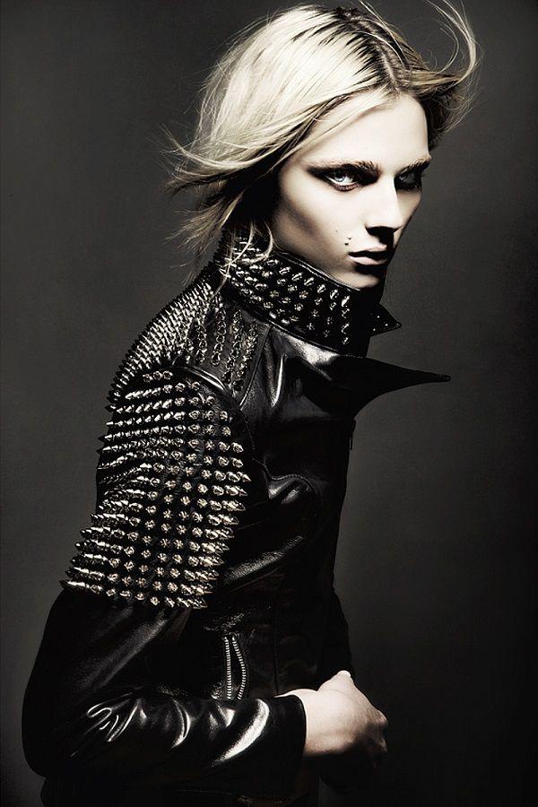 Studded leather jacket