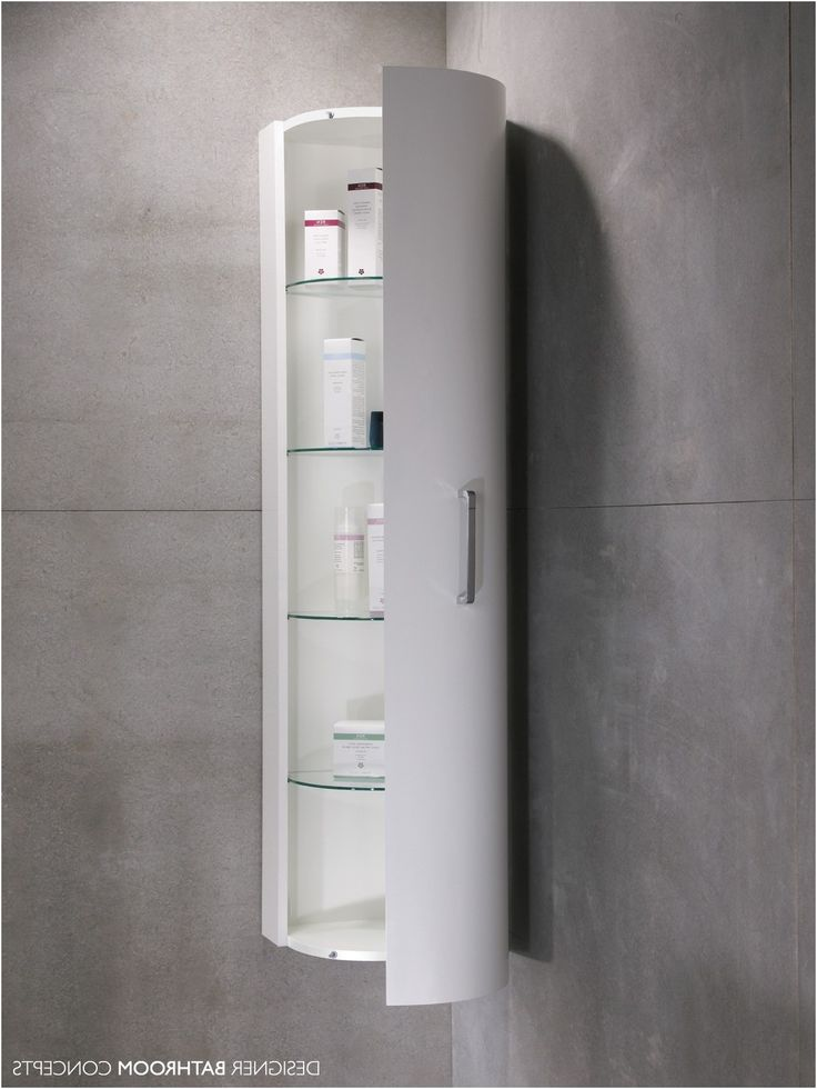 Tall Slim White Gloss Bathroom Cabinet Maine Slim